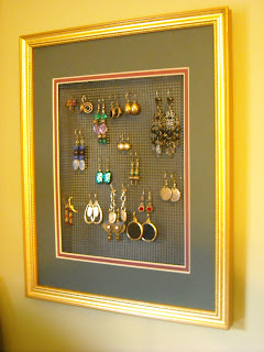 DIY framed earring organizer