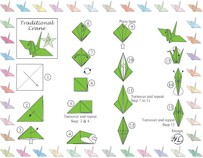 how to fold a paper crane outline