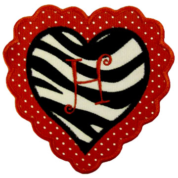 R Alphabet In Heart Heart Applique with Embroidered Letter