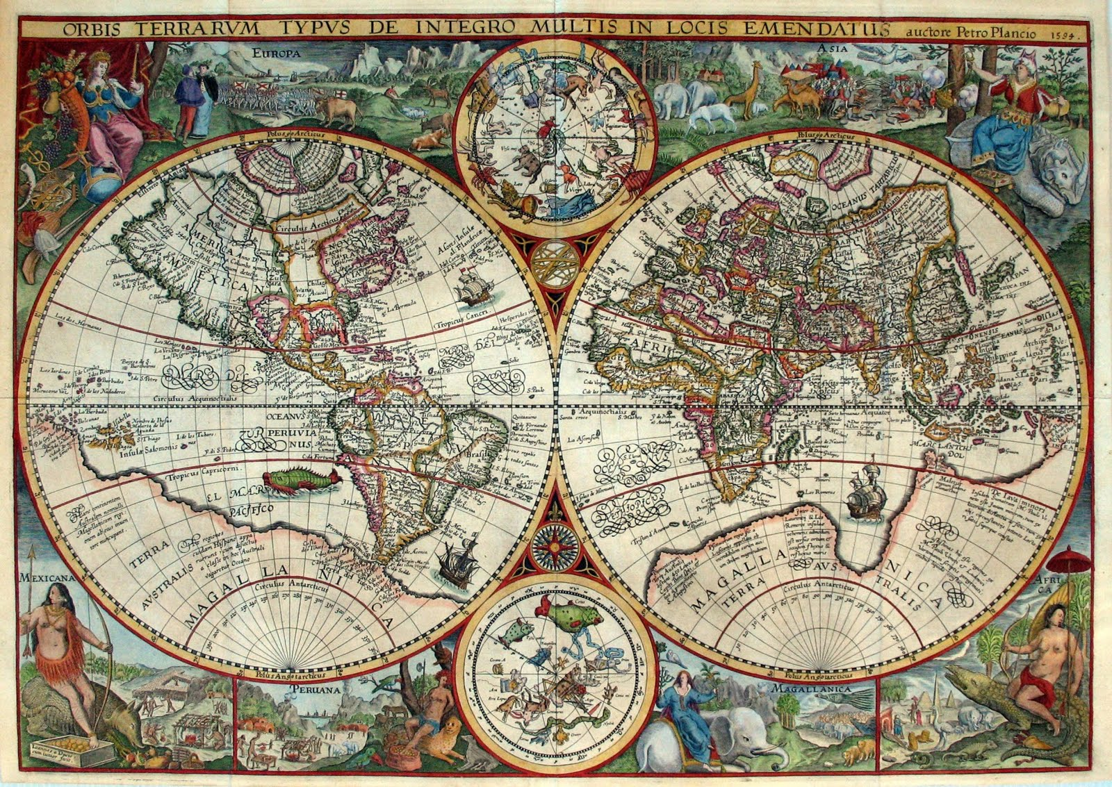 Ancient world maps world map 16th century world map 16th century description orbis terrarum published by the dutch astronomer cartographer and clergyman petrus plancius in 1594 gumiabroncs Choice Image