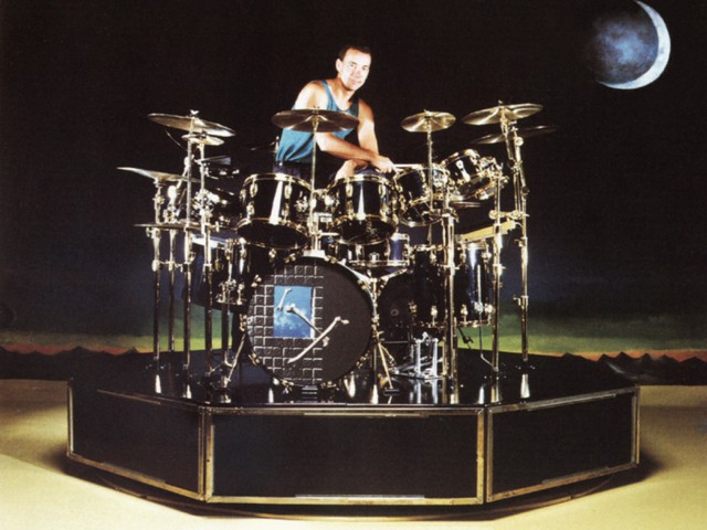 Neil Peart Time Machine Drum Kit. Various drum kits of Neil