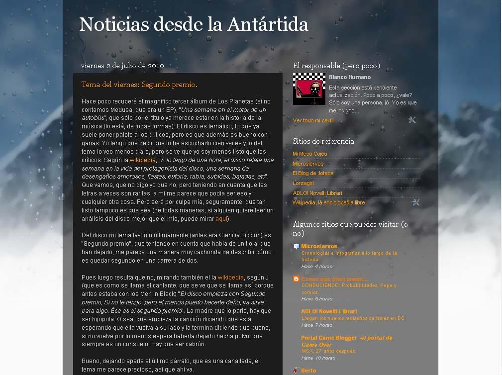 Noticias desde la Antártida: Plantilla