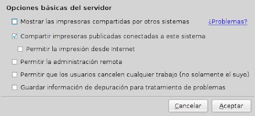 Configuración del servidor para publicar Impresoras compartidas