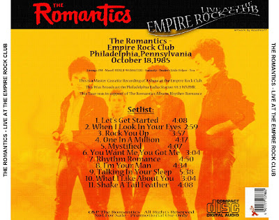 The Romantics Empire Rock Club Back