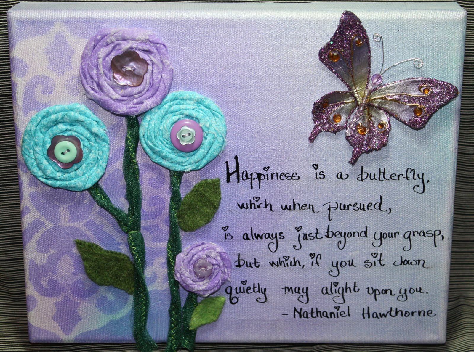 Isa Creative Musings Butterfly And Flower Canvas Artwork 1