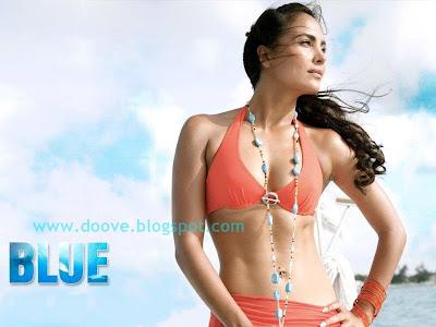 Hot Lara Dutta In Bikni Blue 2009 Film Wallpaper Stills