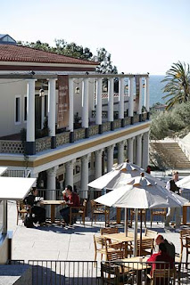 Cafe veranda and view of the Getty Villa
