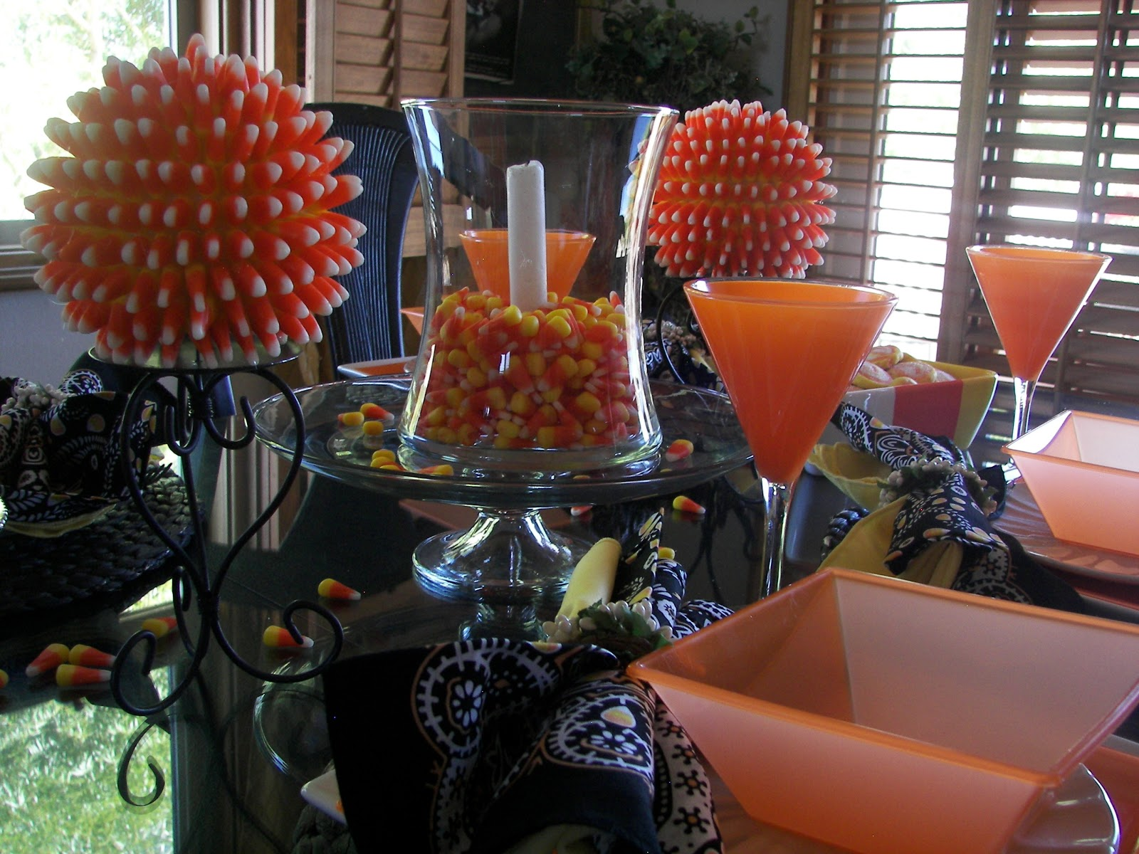 Red couch recipes candy corn tablescape