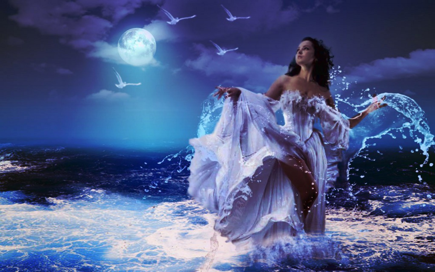 Fantasy Art Woman In Ocean