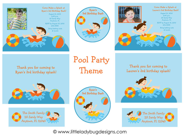 pool party invitations for girls. The pool party themed