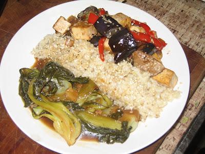 Killa' Peas On Attack: Hoisin Braised Bok Choy, Sesame Tofu & Eggplan...