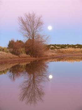 the moon rising, the sun setting on love lake