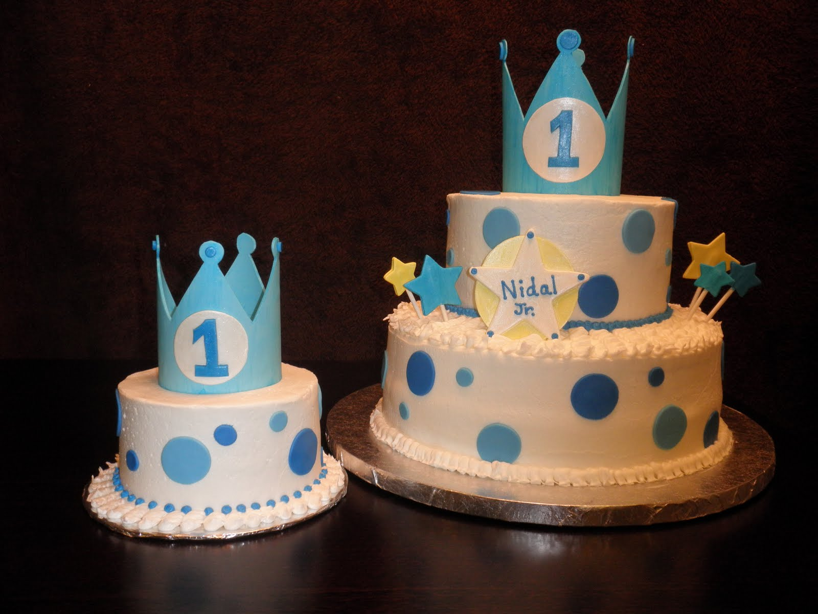 this cake was for a special baby boy nidal jr the cake on the right is ...
