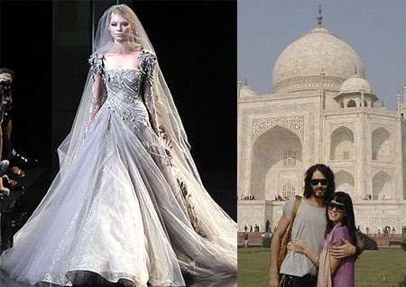 Katy Perry And Rus Brand Are Officially Married She Wore An Elie Saab Dress Like The One Above Or So It S Believed Two Got In India