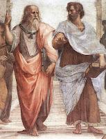 Representação do discípulo Aristóteles acompanhando o mestre Platão.