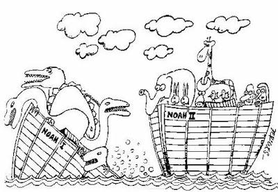 cartum ou desenho com duas arcas de Nóe