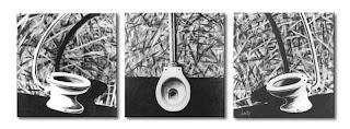 pintura acrílica em tela, - trípitico catrina, latrina, satrina