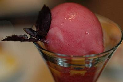 Blood peach sorbet with the purest-flavoured purple basil