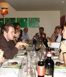 Expressing opinions on the food and wine