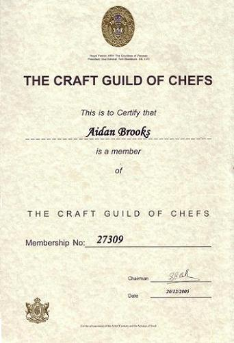 My membership of The Craft Guild of Chefs