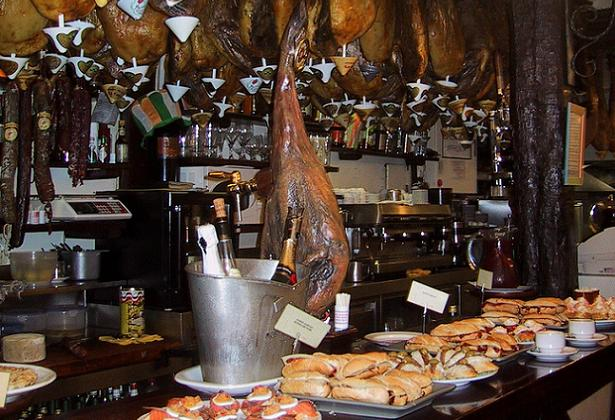 A typical Basque pintxos bar