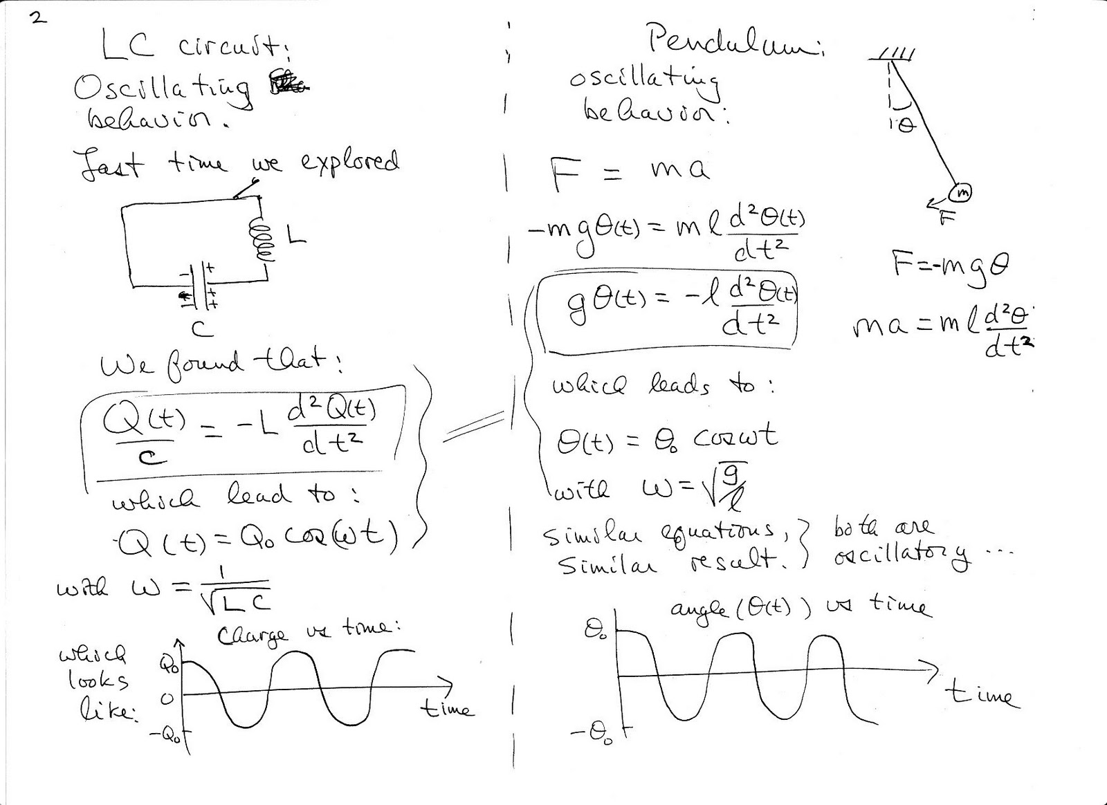 Lc Filter Circuit Equations How To Solve The Differential Equation Circuitlab Rlc Band Stop Physics C Fall Notes On Oscillating Circuits