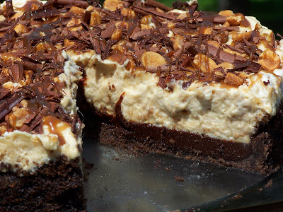 Vanilla Basil: Black-Bottomed Peanut Butter Mousse Pie