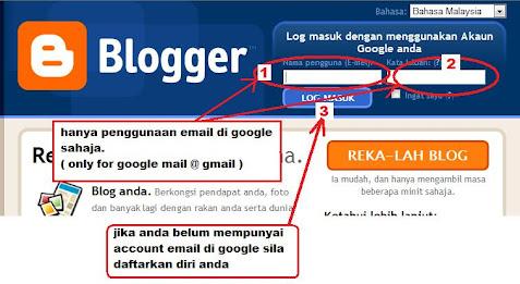 log in di www.blogger.com