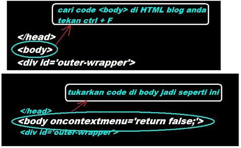 matikan function right mouse di blog anda bagi menyusahkan orang meniru blog anda