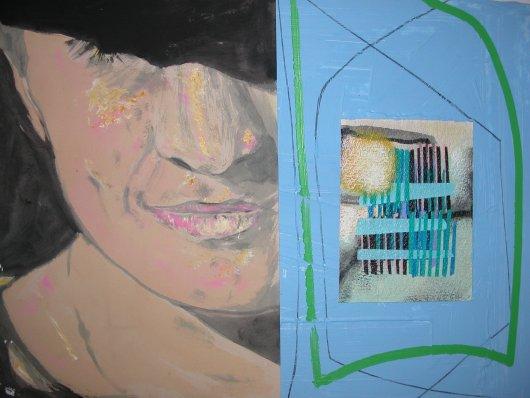 Lori e la musica , acrilici,collage