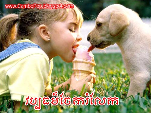 Funny Pciture Dog And Small Girl Sharing Ice Cream Cone