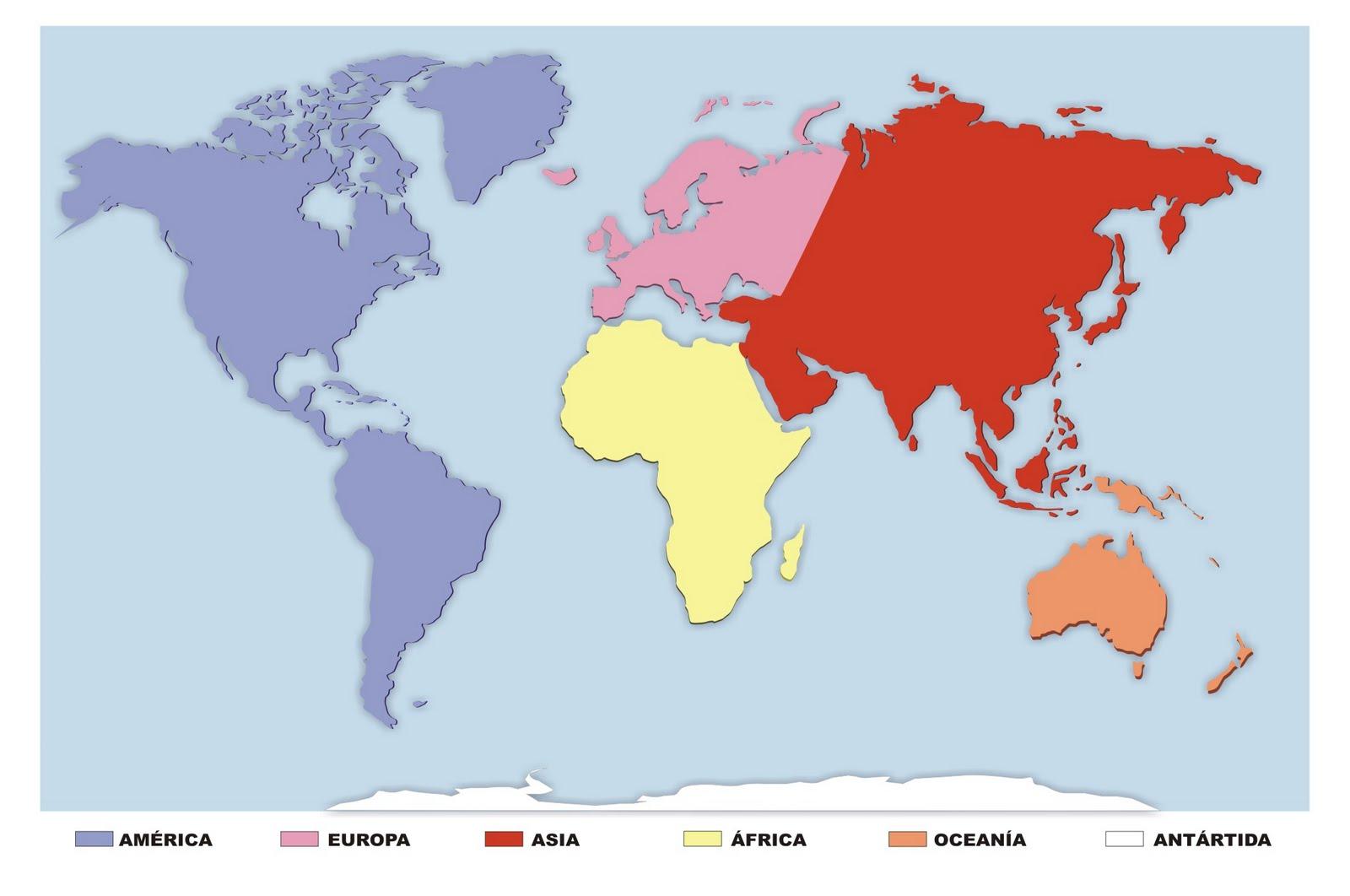 Dibujo Continentes Y Oceanos Colorear
