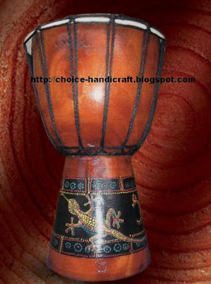 wooden drum from indonesia handicraft
