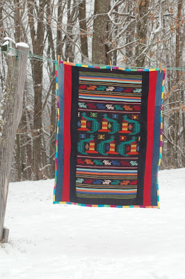 Quetzal quilt in the snow