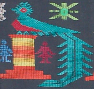 Guatamalan weaving--Resplendent Quetzal
