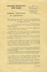 'O' Level papers from 1962 & 3