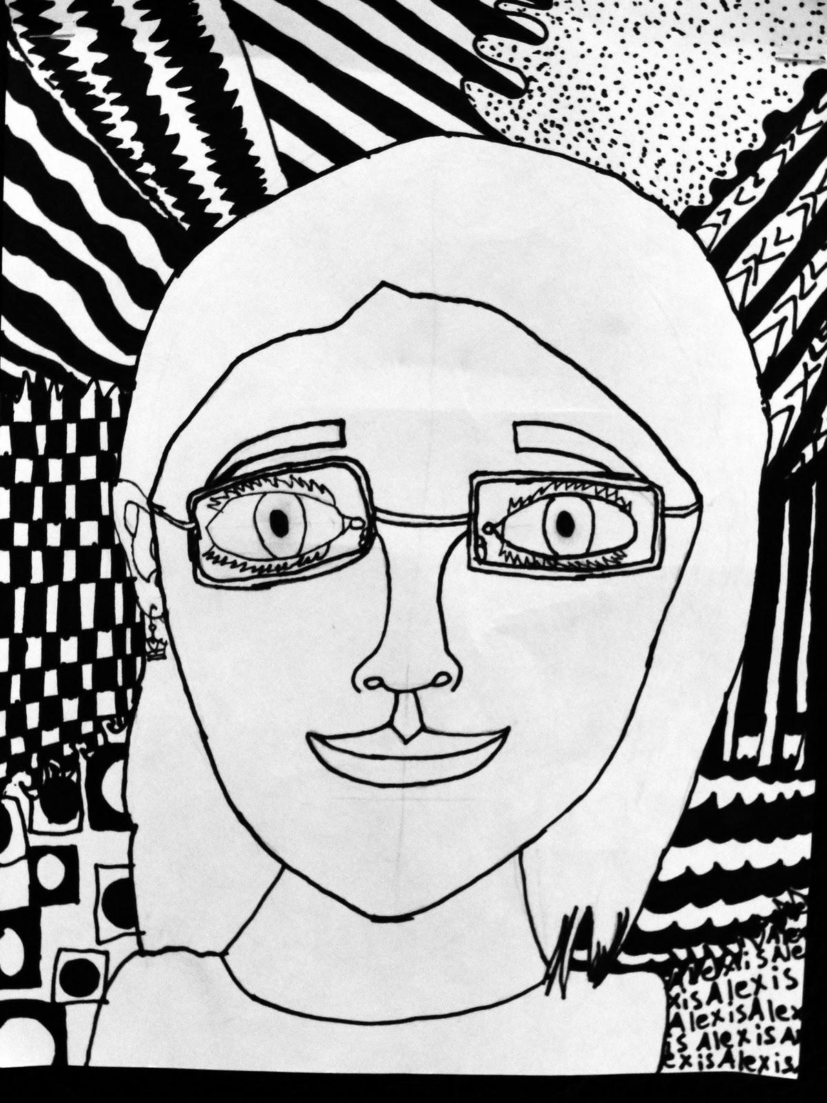 Contour Line Drawing Self Portrait : Da vinci s wings th grade self portraits