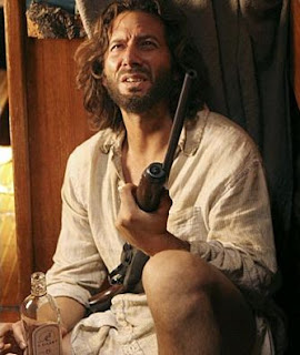 Desmond Hume Lost Island Shotgun Drinking Whiskey Bottle Bathrobe