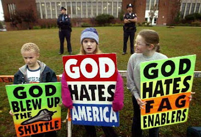 Christian Westboro God Hates Fags sign kids