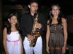 com as filhas Lara Roberta e Sandra Guimarães