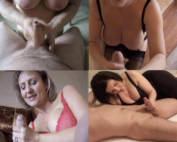4 mature women with nice tits gives a good handjob