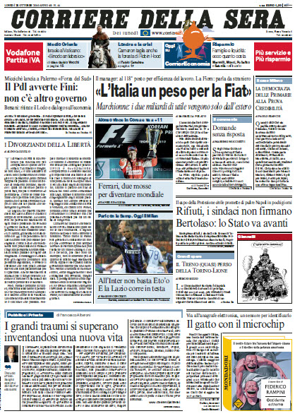 Edicola italiana il corriere della sera 25 ottobre 2010 for Corriere della sera arredamento