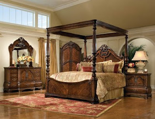 Inspirational This elegant and luxurious bedroom set offers a poster bed with a canopy an oversized nightstand drawer dresser and a landscape mirror that e in