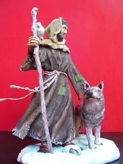 Orme Magiche Scultura Statua San Francesco statuetta statuette santo fatto a mano santi fatti a mano statuine presepe pastorelli artigianali