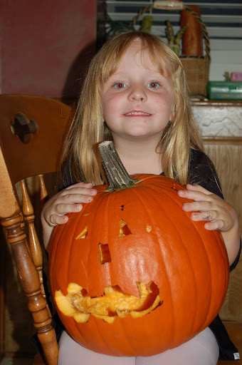 Lil'E with our pumpkin