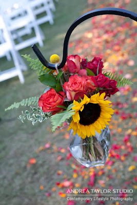 detail fall colors wedding yellow red sunflowers roses