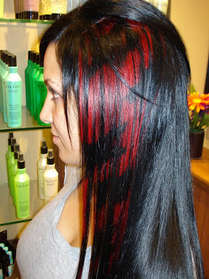 hair black or dark and put some streaks of platinum blonde, stark red,