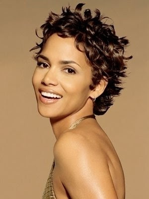 halle berry short hairstyles pictures. Halle Berry short curls.