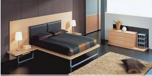 Dormitorio en colores oscuros y elegantes que resalta con - Colores madera muebles ...