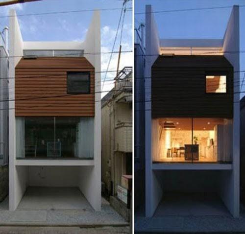 La casa sandwich arquitectura japonesa fachadas de casas for Casas angostas y largas interior